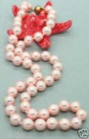 """AAA Genuine 8mm Pink Sea South Shell Pearl Round Beads Gems Necklace 18"""""""