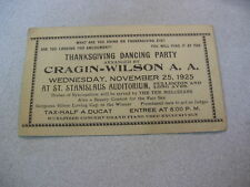 1925  Chicago Thanksgiving Dancing Party Cragin-Wilson Ticket