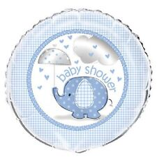 Blue Baby Boy Shower Party SWEET UMBRELLA ELEPHANT MYLAR BALLOON