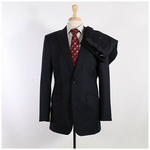 Astor & Black 40L 34x32 Navy Striped Wool Two Button Suit