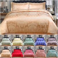 New Satin Duvet Set Double King Size Complete Jacquard Bedding Silk Quilt Cover