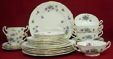 ADDERLEY china VIOLET pattern 31-piece SET PLACE SETTING for FOUR (4) +