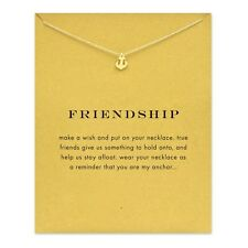 18K Gold Plated Dainty Anchor Rudder Friendship Inspirational Message Necklace