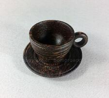 PALM WOOD HANDMADE CARVED COFFEE CUP MUG MINI THAI HANDICRAFT