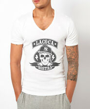 MENS DEEP V NECK T-SHIRT LA COCA NOSTRA MUSCLE TOP SKULL GANGSTER COCAINE