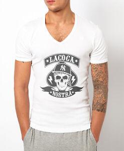 MENS DEEP V NECK T-SHIRT LA COCA NOSTRA MUSCLE TOP SKULL GANGSTER COCAINE