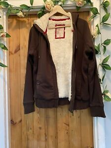 MANTARAY ISABELLE JERSEY AUTUMN BROWN HOODED FUR LINED JUMPER HOODIE TOP SIZE 16