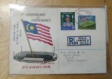 1958 Stamp Private FDC 1st Anniversary Merdeka Malaysia Malaya Stadium Flag 9693