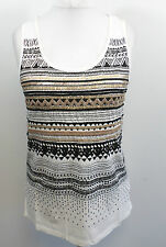Oasis Tribal Print Embellished Top White Ladies Size Small rrp £35 box75 27 F