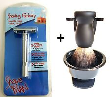 Safety Razor Pure Black Hair Badger Bristle Shaving Brush Stand and Bowl Set