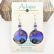 Adajio Earrings Night Sky Disc with Stars Over Waves Overlay Sterling Hook 7884