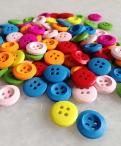 100Pcs Mixed Round shape Pattern 4 Holes Wooden Buttons Sewing Craft DIY Znk202