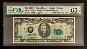 NQC Fr. 2072-G $20 1977 FRN (Offset Printing of Back to Front) Gem Unc 65