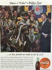 Vintage World War II 1944 Coke Ad RAF Pukka Gen Coca Cola Print Advertisement