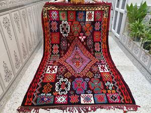 Handmade Vintage Moroccan Azilal Berber Wool Rug Beni Ourain Tribal Carpet 4 x 8