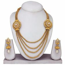 Multi Layer 4 String Indian Bollywood Gold plated Necklace Set Fashion Jewelry