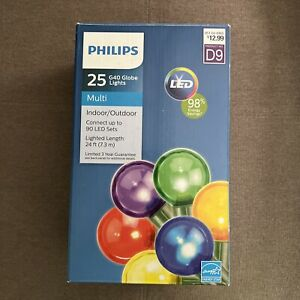 Philips 25ct Christmas LED G40 Globe String Lights Multicolored Retail Price $13