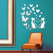 Art Cat Mirror Decoration Butterflies Bedroom Wall Stickers Mural Decal Paper