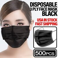 *500 PCS* BLACK 3-PLY Disposable Face Mask Non Medical Earloop Mouth Nose Cover