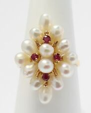 14k Yellow Gold Pearl and Ruby Marquise Shaped Ladies Ring