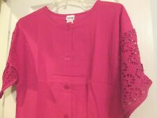 AVON STYLE*LARGE GAUZE ROMPER WITH LACE TRIM & POCKETS*HOT PINK*100% COTTON*NEW