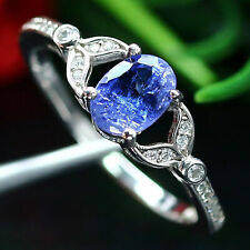 NATURAL 5 X 7 mm. OVAL BLUE TANZANITE & WHITE CZ RING 925 STERLING SILVER