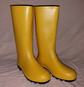 gelbe Gummistiefel mit schwarzer Sohle für Damen u. Herren Regenstiefel PVC