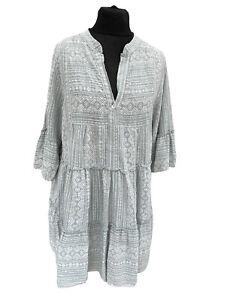 Billi Made on Earth Kaftan Dress Size 14 Sage Green White Aztec Boho Hippie NEW