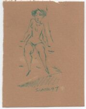Original Miriam Slater Female Nude Figure Life Drawing Blue Ink Signed Artwork
