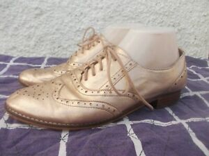 MOLLINI ROSE GOLD GENUINE LEATHER & LINED LACE UP BROGUES/SHOES-SZ 40/9-GC