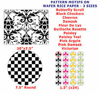 Pattern Motif Design Print Cake / Cupcake Topper Decorations On Wafer Rice Paper