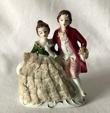 More details for vintage ceramic porcelain figure figural group seated woman lace dress + man