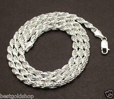 5mm Italian Solid Diamond Cut Rope Chain Necklace Real 925 Sterling Silver