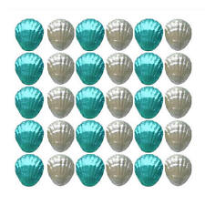40 AQUA BLUE AND SILVER MILK CHOCOLATE SHELLS-BEACH WEDDING FAVOURS PARTIES