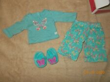American Girl Doll Butterfly Garden PJs Green Pajamas pants top slippers compl
