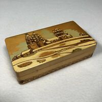 """Handmade Russian Wooden Box PCOCP 5""""x 2.75"""" Hand Carved And Painted COA"""