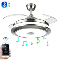 """36""""/42"""" Bluetooth Ceiling Fans w/ LED Retractable Blades Music Player Chandelier"""