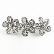 USA BARRETTE Rhinestone Crystal Hairpin Claw Clip Metal Vintage Flower Silver 14