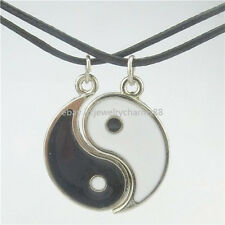 1Set Enamel Alloy Best friend I Ching Bagua Tai Chi Ying Yang Pendant Necklace
