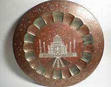 "VINTAGE Ornate Brass TAJ MAHAL 15"" Collectible Plate / Tray NICE INDIA Souvenir"