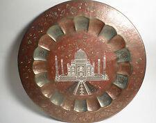 "VINTAGE Ornate Brass TAJ MAHAL 15"" Collectible Plate / Tray NICE INDIA Souvenir"