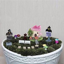 38pcs Miniature Mushroom  Flower Fairy Garden Doll House Figurine Decor Ornament