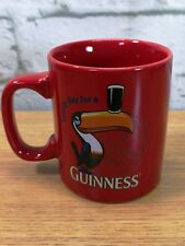 LOVELY DAY FOR A GUINESS MUG RED with Toucan Embossed Design Excellent Condition