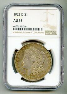 1921 D Morgan Silver Dollar NGC AU 55