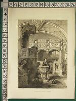 1845 Datato Antico Stampa ~ Boxgrove Chiesa Sussex