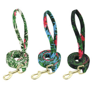 5ft Strong Nylon Dog Leash Floral Pet Walking Lead for Small Medium Large Dogs