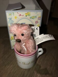 "Gotta Getta Gund Bear 3"" Tiny Teddy  Wishes NWT MOHAIR COLLECTION GIRL Tea Cup"