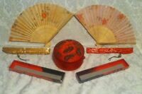 Oriental  Asian 7 Pc Red Gold Brocade Gift Box 2 Fans Wall Decor Tie Pouch  Bag