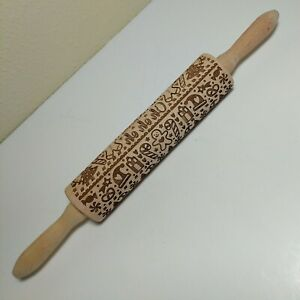 Springerle Carved Wood Rolling Pin Christmas Holiday pie dough biscuit cookie