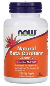 Vitamin A, Beta-Carotene, Natural, 25000iu 180 Softgels - NOW Foods, FREE P&P